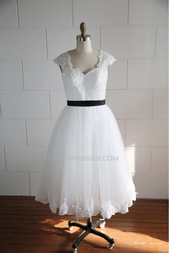A-line Short Lace BowKnot Bridal Wedding Dresses WD010806