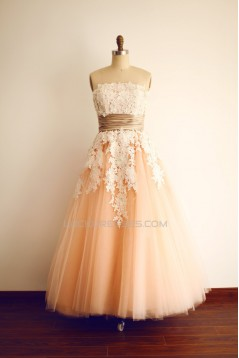 A-line Strapless Lace and Tulle Short Bridal Wedding Dresses WD010808
