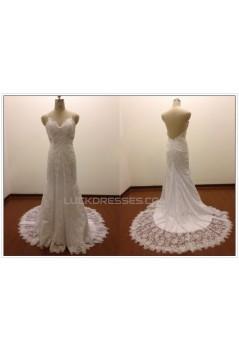 Trumpet/Mermaid Spaghetti Strap Lace Bridal Wedding Dresses WD010813