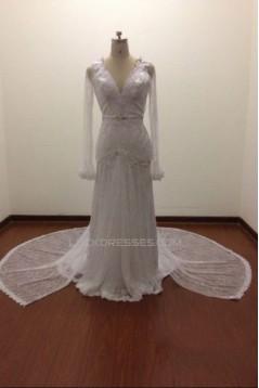 Trumpet/Mermaid Long Sleeves Beaded Lace Bridal Wedding Dresses WD010814
