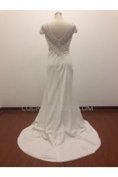 Trumpet/Mermaid Cap Sleeves Beaded Bridal Wedding Dresses WD010815