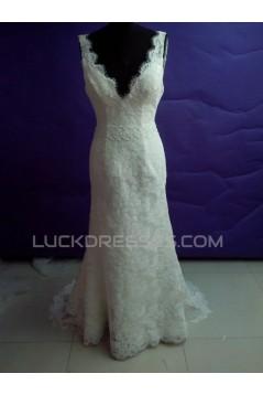 Trumpet/Mermaid V-neck Lace Bridal Wedding Dresses WD010816