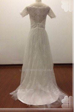 A-line Short Sleeves Lace Bridal Wedding Dresses WD010817
