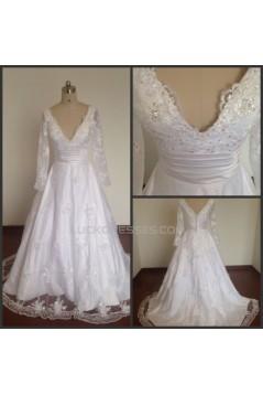 A-line Long Sleeves V-neck Bridal Wedding Dresses WD010819