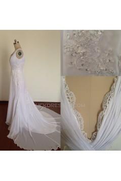 V-neck Lace and Chiffon Bridal Wedding Dresses WD010821