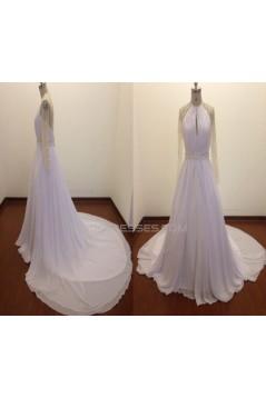 A-line Long Sleeves Beaded Chiffon Bridal Wedding Dresses WD010823