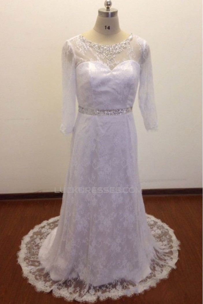 A-line 3/4 Sleeves Beaded Lace Bridal Wedding Dresses WD010830