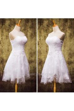 A-line Straples Short Lace Bridal Wedding Dresses WD010832