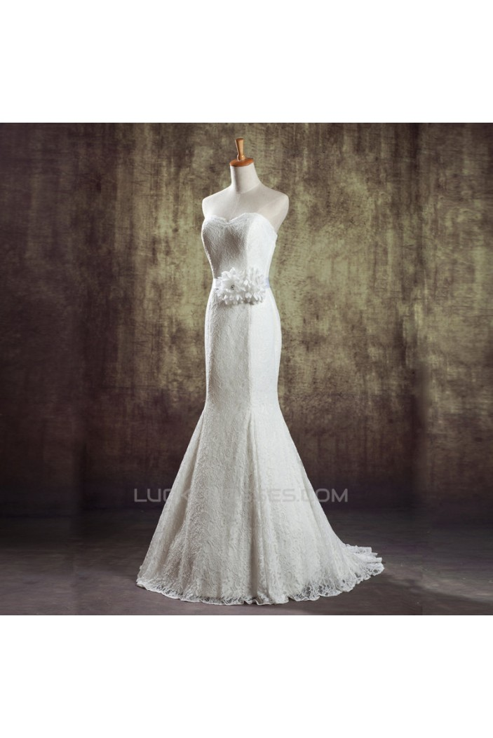 Trumpet/Mermaid Sweetheart Lace Bridal Wedding Dresses WD010833