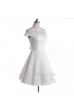 A-line Short Cap Sleeves Lace Bridal Wedding Dresses WD010836