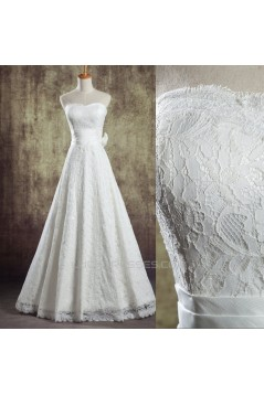 A-line Strapless Lace Bridal Wedding Dresses WD010838