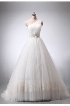 A-line One Shoulder Lace and Tulle Bridal Wedding Dresses WD010839