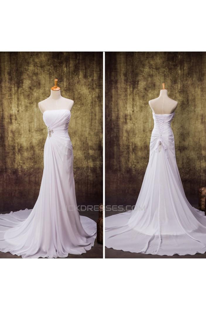 Sheath/Column Strapless Chiffon Bridal Wedding Dresses WD010841