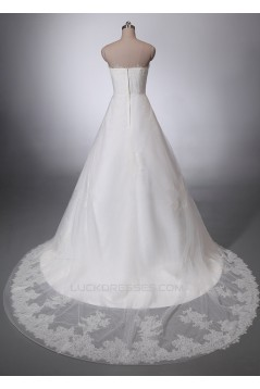 A-line Strapless Lace Bridal Wedding Dresses WD010843