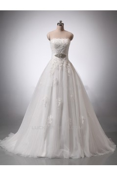 A-line Strapless Beaded Lace Bridal Wedding Dresses WD010846