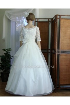 Ball Gown Half Sleeves Lace Appliques Bridal Wedding Dresses WD010849