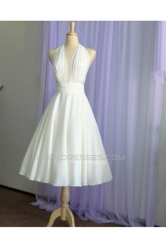 A-line Halter Short Bridal Wedding Dresses WD010850