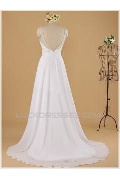 A-line V-neck Beaded Lace Bridal Wedding Dresses WD010852