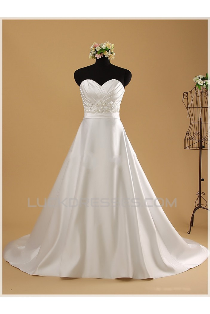 A-line Sweetheart Beaded Bridal Wedding Dresses WD010853