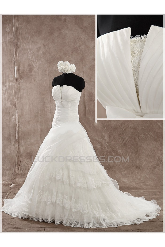 A-line Strapless Lace Bridal Wedding Dresses WD010856