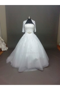 Ball Gown Strapless Beaded Lace Bridal Wedding Dresses with A Jacket WD010858