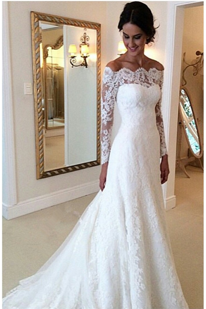 A-Line Off-the-Shoulder Long Sleeves Lace Bridal Wedding Dresses WD010860