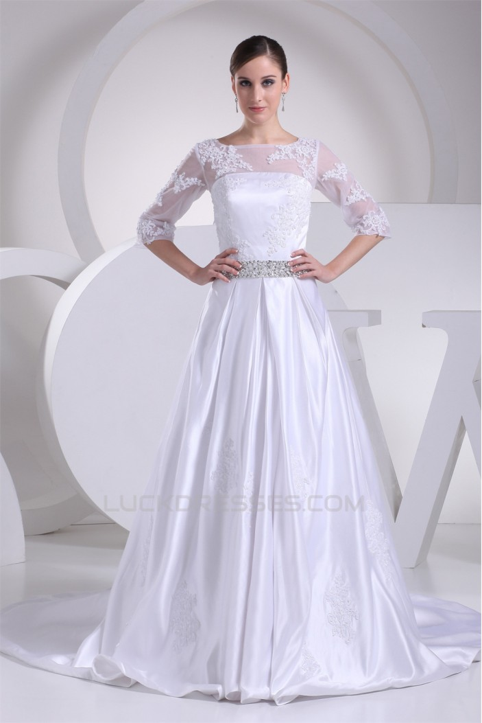 A-Line 3/4 Length Sleeve Beaded Appliques Court Train Wedding Dresses 2030001