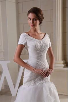 A-Line V-Neck Short Sleeve Court Train Wedding Dresses 2030002