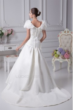 A-Line V-Neck Short Sleeve Court Train Wedding Dresses 2030003