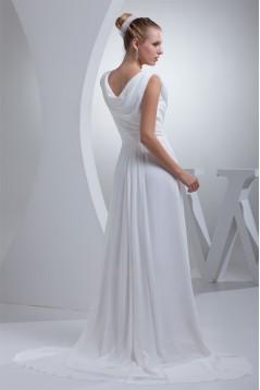 Sheath/Column Sweep Train Chiffon Wedding Dresses 2030005