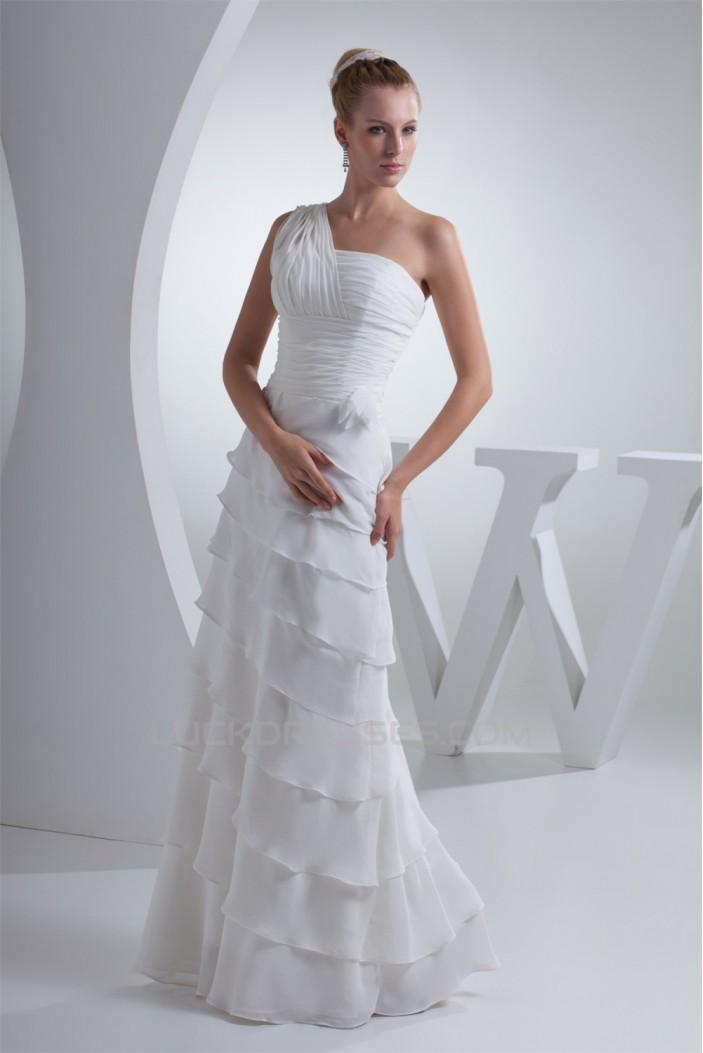 Sheath/Column Floor-Length One-Shoulder Wedding Dresses 2030006
