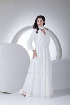 A-Line High-Neck Long Sleeve Chiffon Reception Wedding Dresses 2030007