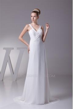 A-Line Illusion Sleeves V-Neck Beaded Chiffon Wedding Dresses 2030008