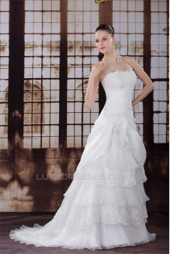 A-Line Lace Organza Strapless Sleeveless Wedding Dresses 2030009