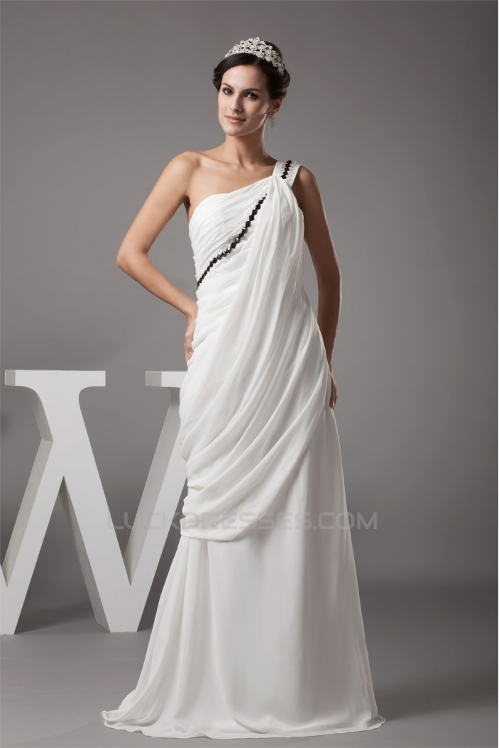 Sheath/Column One-Shoulder Chiffon Wedding Dresses 2030011