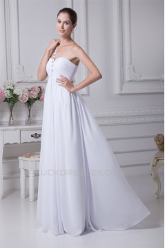 Empire One-Shoulder Sleeveless Beaded Chiffon Wedding Dresses Maternity Wedding Dresses 2030012