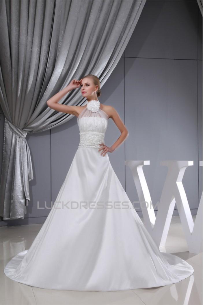 A-Line Sleeveless High-Neck Sweet Wedding Dresses 2030013