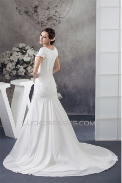 A-Line Portrait Short Sleeve Wedding Dresses 2030014
