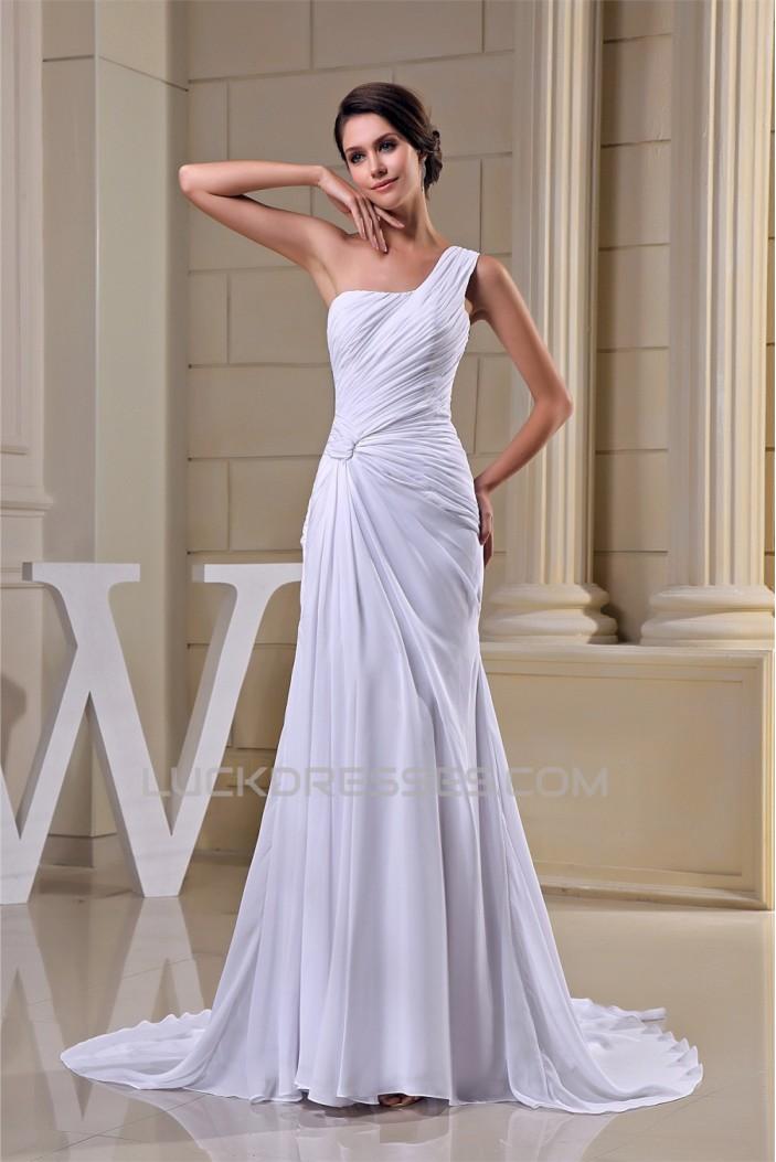 Sheath/Column Ruched Chiffon One-Shoulder Sweep Train Wedding Dresses 2030015