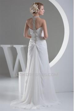 Sheath/Column Beaded Applique Chiffon One-Shoulder Sweep Train Wedding Dresses 2030016