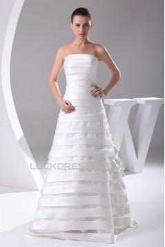 A-Line Satin Organza Sleeveless Strapless Sweet Wedding Dresses 2030019