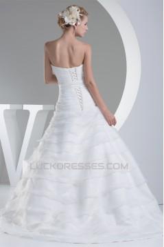 A-Line Satin Organza Sweetheart Sleeveless Best Wedding Dresses 2030021
