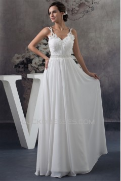 A-Line Sleeveless Beading Chiffon Floor-Length Wedding Dresses 2030022