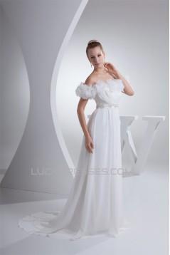 A-Line Sleeveless Chiffon Organza Beaded Wedding Dresses 2030023