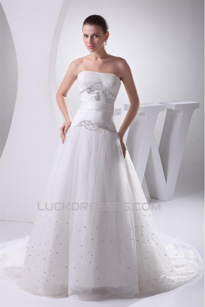 A-Line Sleeveless Beaded Strapless Wedding Dresses 2030024