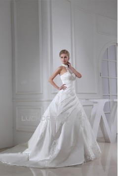 Ball Gown Sleeveless Satin Lace Fine Netting Wedding Dresses 2030025