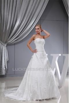 A-Line Sleeveless Satin Lace Organza Sweetheart Wedding Dresses 2030026
