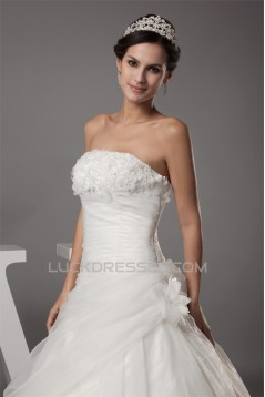 Ball Gown Strapless Beaded Appliques Court Train Wedding Dresses 2030027