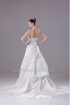 A-Line Sweetheart Beaded Appliques Court Train Wedding Dresses 2030028