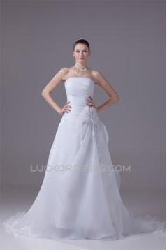 A-Line Sleeveless Strapless Handmade Flowers Wedding Dresses 2030029